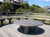 Newcastle_Pawleys Island_wood beach boardwalk with built in benches and custom wood table